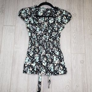 H&M Floral V Neck Cap Sleeve Tie Back Tunic